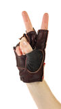 Gestures of hands, a hand is in a leather glove, Royalty Free Stock Images