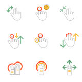 Gestures hands icons line flat style Royalty Free Stock Images