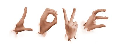 Gestures of hands. Love Royalty Free Stock Photos