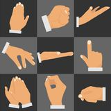 Gestures of the hands. Set of gestures with hands. Flat design, vector illustration, vector Stock Photos