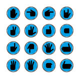 Gestures of hands. Vector icons in a black circle. Gestures of hands Stock Photo
