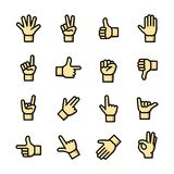 Gestures icons set, vector illustration. Line art Gestures icons set, hand symbols outline vector illustration Royalty Free Stock Photo