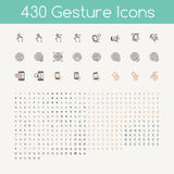 430 gestures icons for touch devices , hands holding smartphone Stock Photos