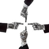 Gestures indicate the direction financial success. Hand gestures show the direction of financial success Stock Images