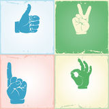 Gestures set. Vintage collection of hand gestures. Silhouettes, vector illustration, grunge background Stock Photo