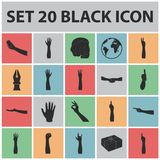 Gestures and their meaning black icons in set collection for design.Emotional part of communication vector symbol stock. Illustration Royalty Free Stock Images