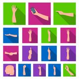 Gestures and their meaning flat icons in set collection for design.Emotional part of communication vector symbol stock Stock Image