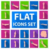 Gestures and their meaning flat icons in set collection for design.Emotional part of communication vector symbol stock Royalty Free Stock Image