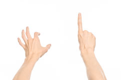Gestures topic: human hand gestures showing first-person view isolated on white background in studio Stock Photos