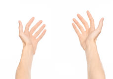 Gestures topic: human hand gestures showing first-person view isolated on white background in studio Royalty Free Stock Photo