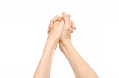 Gestures topic: human hand gestures showing first-person view isolated on white background in studio Stock Image