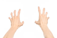 Gestures topic: human hand gestures showing first-person view isolated on white background in studio Royalty Free Stock Image