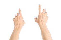 Gestures topic: human hand gestures showing first-person view isolated on white background in studio Stock Images