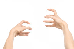 Gestures topic: human hand gestures showing first-person view isolated on white background in studio Royalty Free Stock Photography