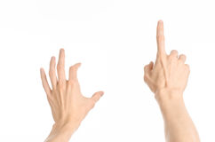 Gestures topic: human hand gestures showing first-person view isolated on white background in studio. Gestures topic: human hand gestures showing first-person Stock Photography