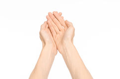 Gestures topic: human hand gestures showing first-person view isolated on white background in studio Stock Photo