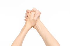 Gestures topic: human hand gestures showing first-person view isolated on white background in studio Stock Photography