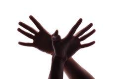 gesturing γυναίκα μανικιούρ χεριών Στοκ Φωτογραφία