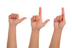 Gesturing σημάδια χεριών στην απομόνωση Στοκ Εικόνα