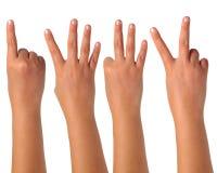 Gesturing σημάδια χεριών στην απομόνωση Στοκ Εικόνες