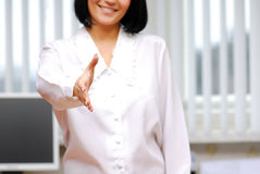 Gesturing - business agreement. Woman hand Stock Photography