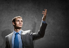 Gesturing businessman Stock Images