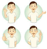 Gesturing Cartoon Man Set Royalty Free Stock Image