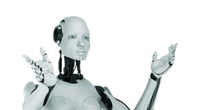 Gesturing cyber woman Royalty Free Stock Photos