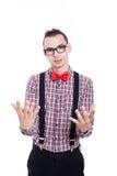Gesturing del nerd Immagine Stock Libera da Diritti