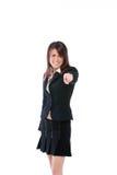 Gesturing della donna di affari Fotografie Stock Libere da Diritti
