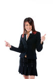 Gesturing della donna di affari Fotografie Stock