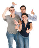 Gesturing delle sorelle e del fratello Fotografia Stock Libera da Diritti