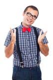 Gesturing felice del geek Immagine Stock Libera da Diritti
