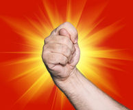 Gesturing with finger hand. On red star abstract background Stock Photos