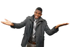 Gesturing guy. Smiling young man with arms outstretched gesture Royalty Free Stock Photos
