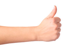 Gesturing hand OK. On white background Royalty Free Stock Photography