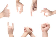 Gesturing hands. Set of gesturing hands over white background Stock Photography