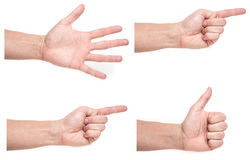 Male hand isolated on white making pointing gestures, thumbs up sign Stock Photo