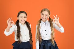 Gesturing ok. Back to school fashion style. Stylish girls in pigtails dressed for school. Little girls wearing trendy royalty free stock photos