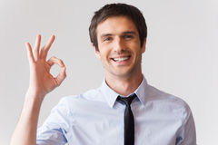 Gesturing OK sign. Royalty Free Stock Image