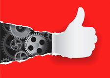 Gesturing paper hand with gears. Stock Photo