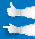 Gesturing paper hands Stock Photography