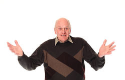 Gesturing senior older man Stock Photography