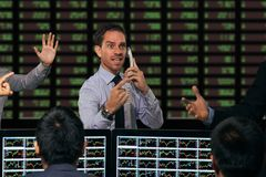Gesturing. Trader gesturing at stock exchange stock images