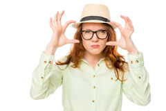 Gesturing woman in a hat Royalty Free Stock Photo