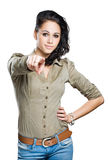 Gesturing young brunette. Stock Photo