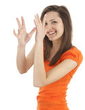 Gesturing young long hair woman Stock Image