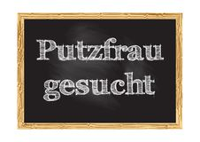 Gesucht di Putzfrau - la donna delle pulizie ha voluto nell'avviso tedesco della lavagna illustrazione di stock