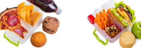 Gesund gegen ungesunde Brotdosen lizenzfreie stockfotos