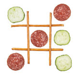 Gesund gegen ungesundes Lebensmittel Stockfotos